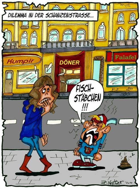 Dilemma in der Schanzenstraße – Cartoon von Jens Natter