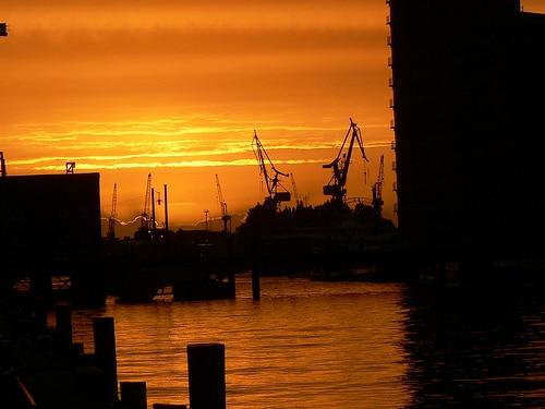 Sundown über dem Hamburger Hafen