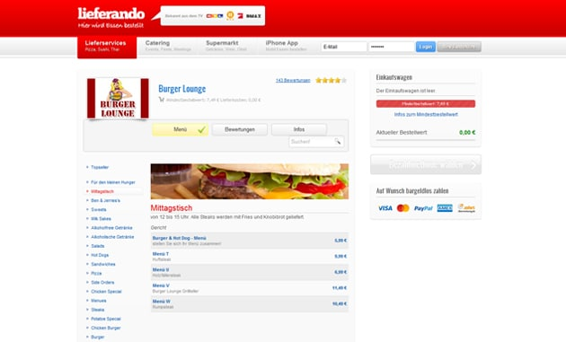 In Hamburg Pizza, Burger, Sushi und Co. online bestellen