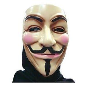 V For Vendetta Maske Guy Fawkes Anonymous - Aus Kunststoff, Einheitsgröße für Erwachsene