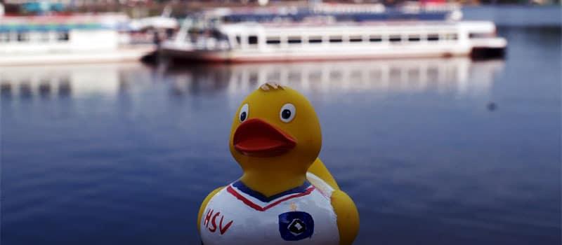 12.000 Plastik-Enten auf der Binnenalster beim Hamburger Lions-Entenrennen