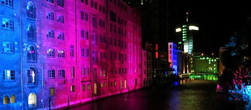Nacht der Lichter und Lichterlauf am Harburger Binnenhafen