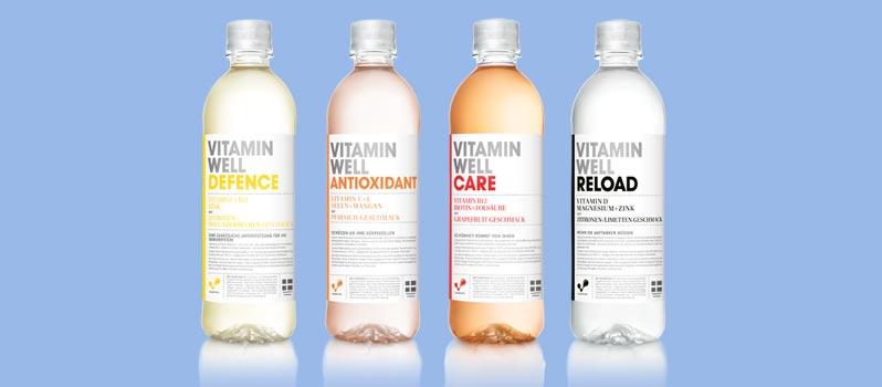 5 Pakete (je vier Flaschen) des schwedischen Vitamindrinks VITAMIN WELL