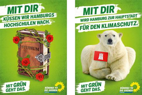 Hamburg Wahl mit den Plakaten der  GRÜNEN