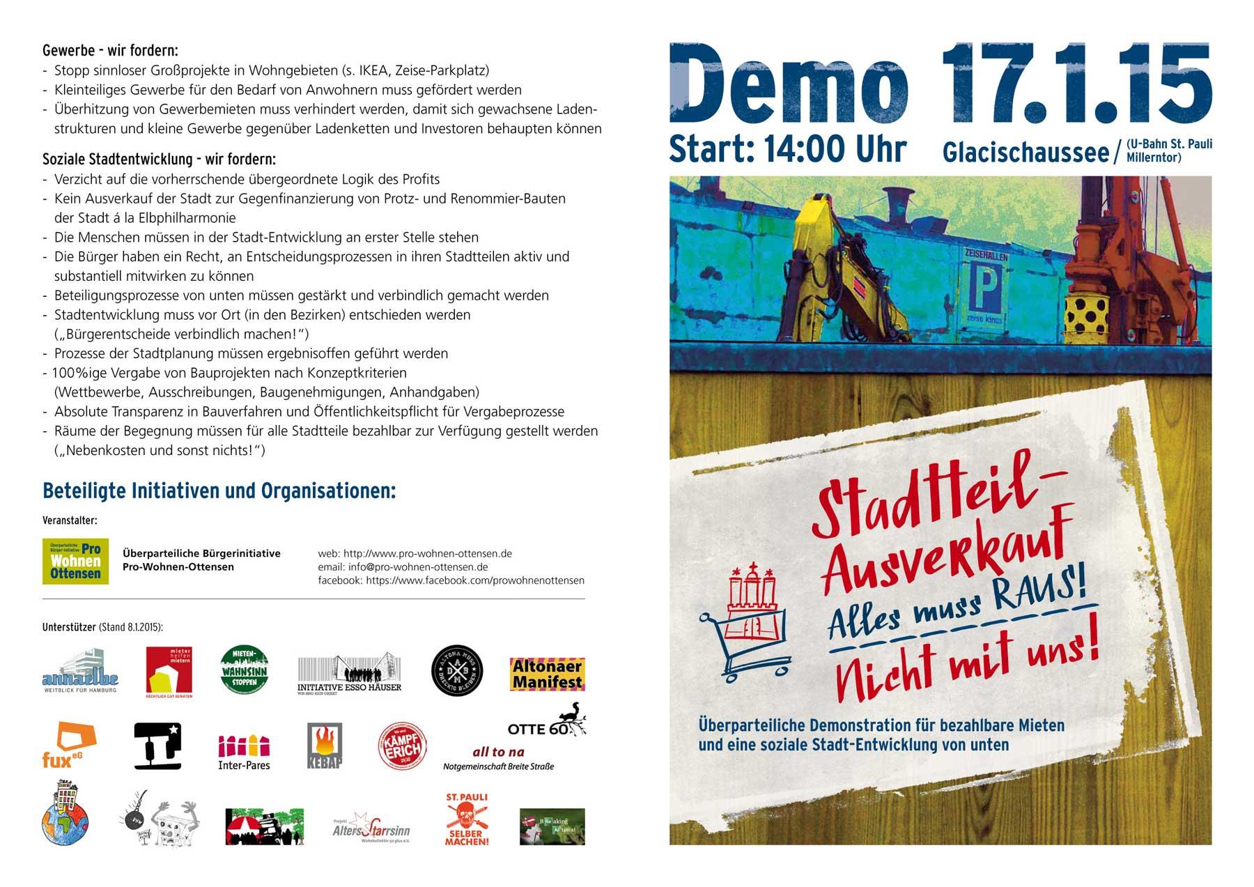 Flyer: Anti-Gentrifizierungs-Demo am 17. Januar 2015 in Hamburg