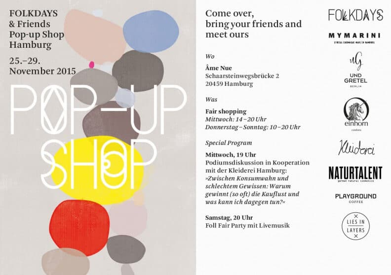 FOLKDAYS & FRIENDS POP UP-STORE, HAMBURG - Flyer