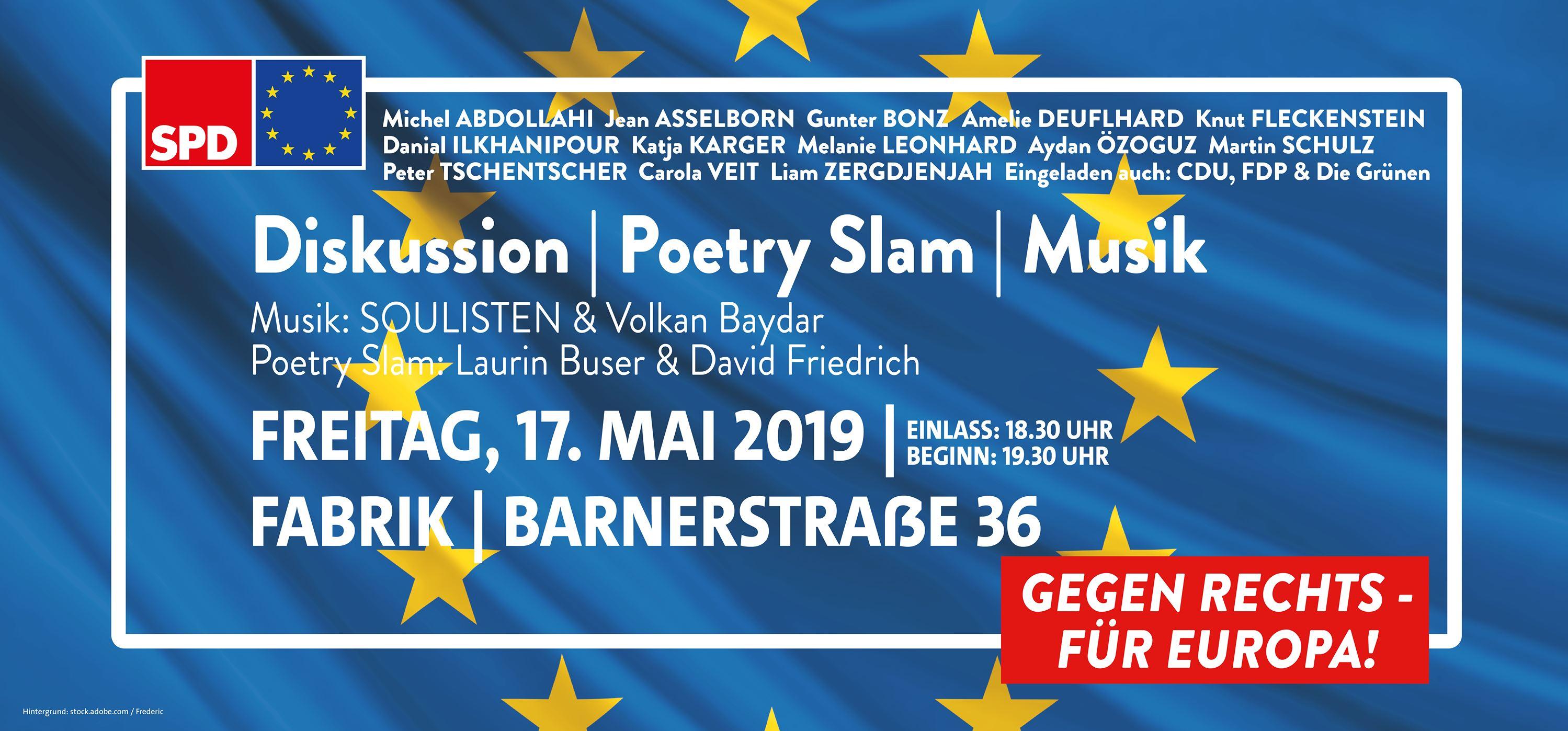 """""""Gegen Rechts – Für Europa!"""" Europawahlkampf der SPD in der Hamburger Fabrik"""