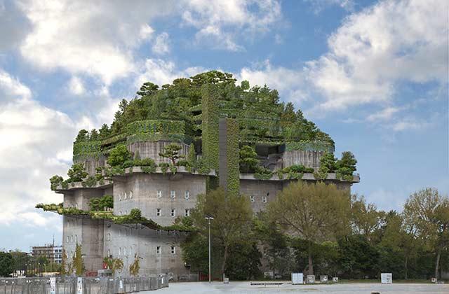 Das neue Hotel auf dem Feldstraßenbunker auf St. Pauli
