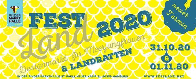 FESTLAND Designmarkt am 31.10. und 01.11. in der Rindermarkthalle St. Pauli